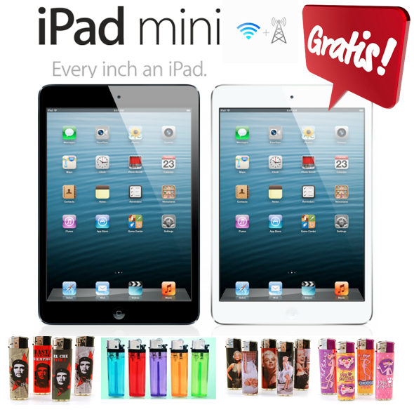 GRATIS iPad Mini in het zwart of wit 16GB Wifi+Cellular